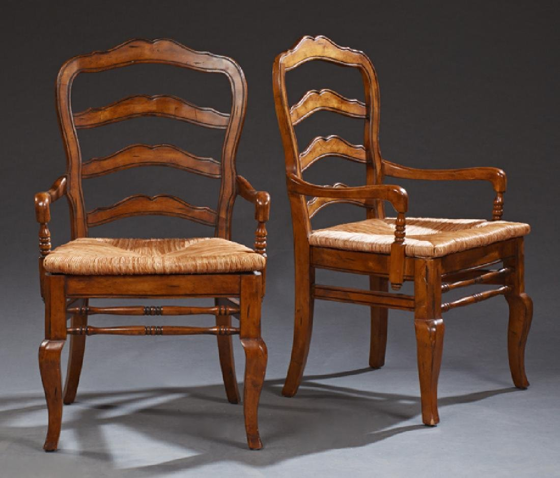 Pair of French Provincial Style Carved Beech Ladderback