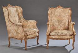 Pair of French Louis XV Style Gilt Bergeres, late 19th