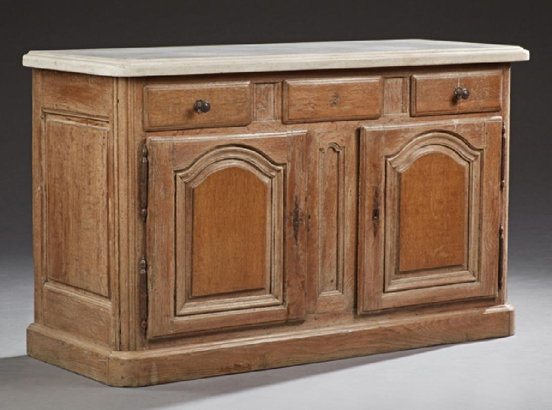 French Carved Oak Marble Top Sideboard, 19th c., the