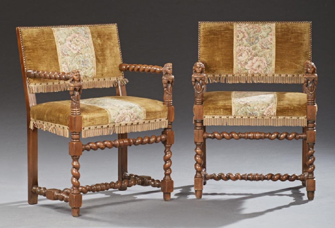 Pair of Louis XIII Style Carved Walnut Fauteuils, c.