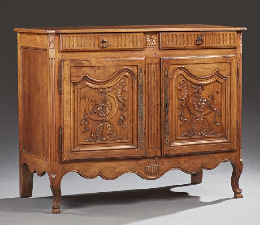 French Louis XV Style Carved Cherry Sideboard, 19th c.,