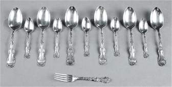 Twelve Pieces of Sterling Flatware, by Gorham, in the