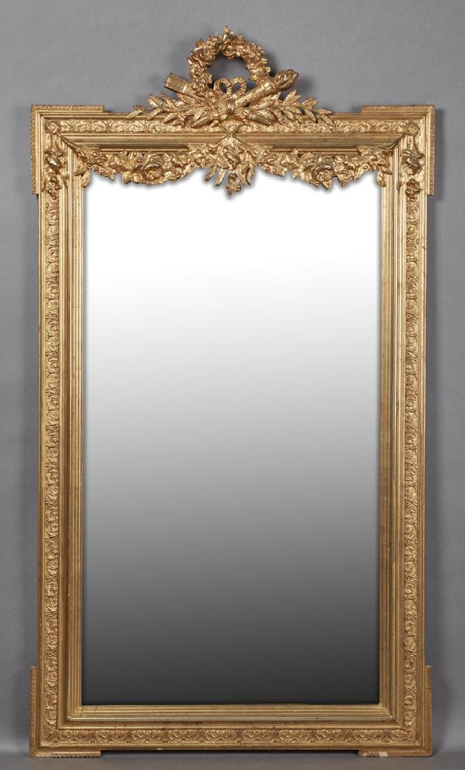 French Louis XVI Style Gilt and Gesso Pine Overmantle