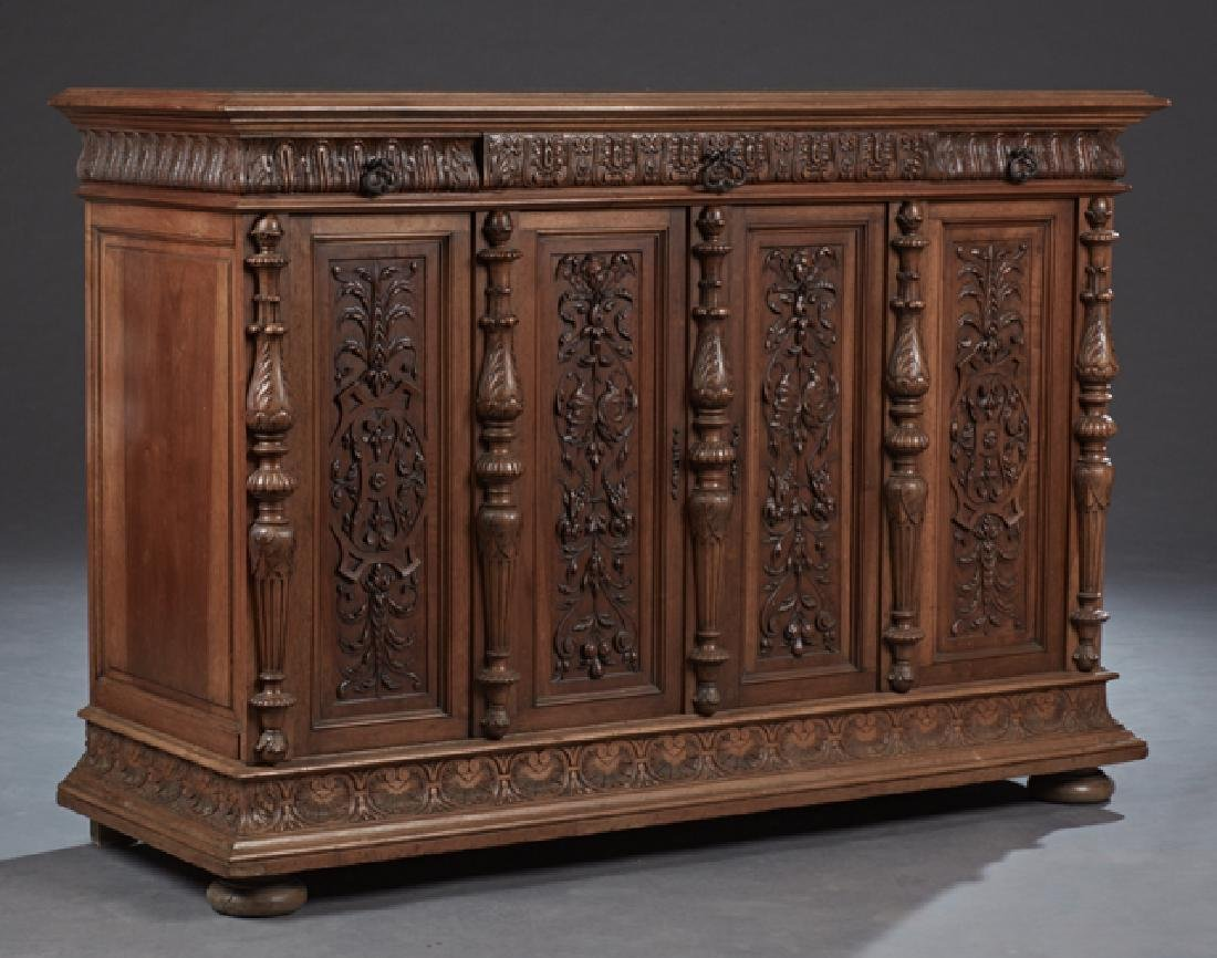 French Carved Walnut Renaissance Style Sideboard, 19th