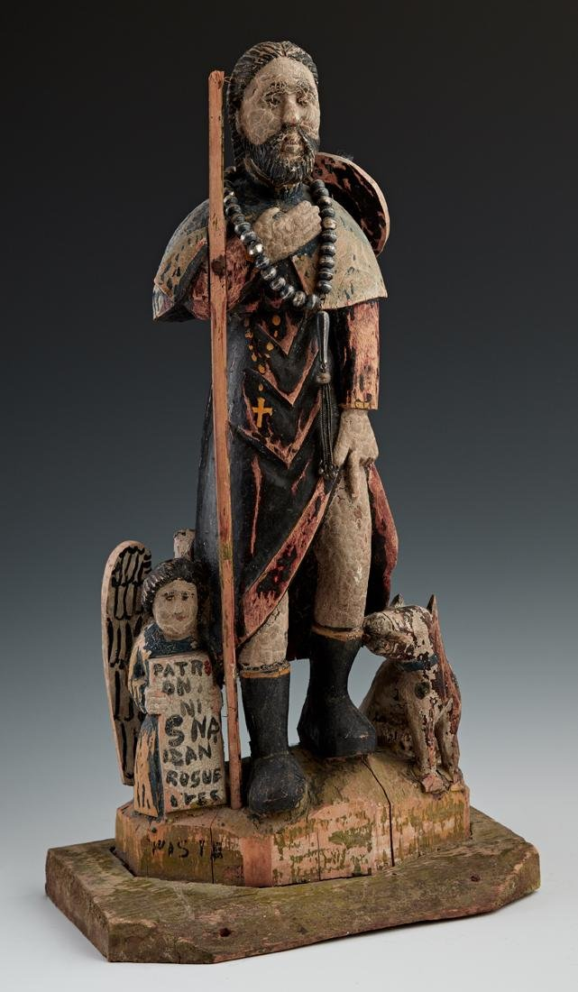 Mexican Carved Wooden Santo, 19th c., of St. Roch,