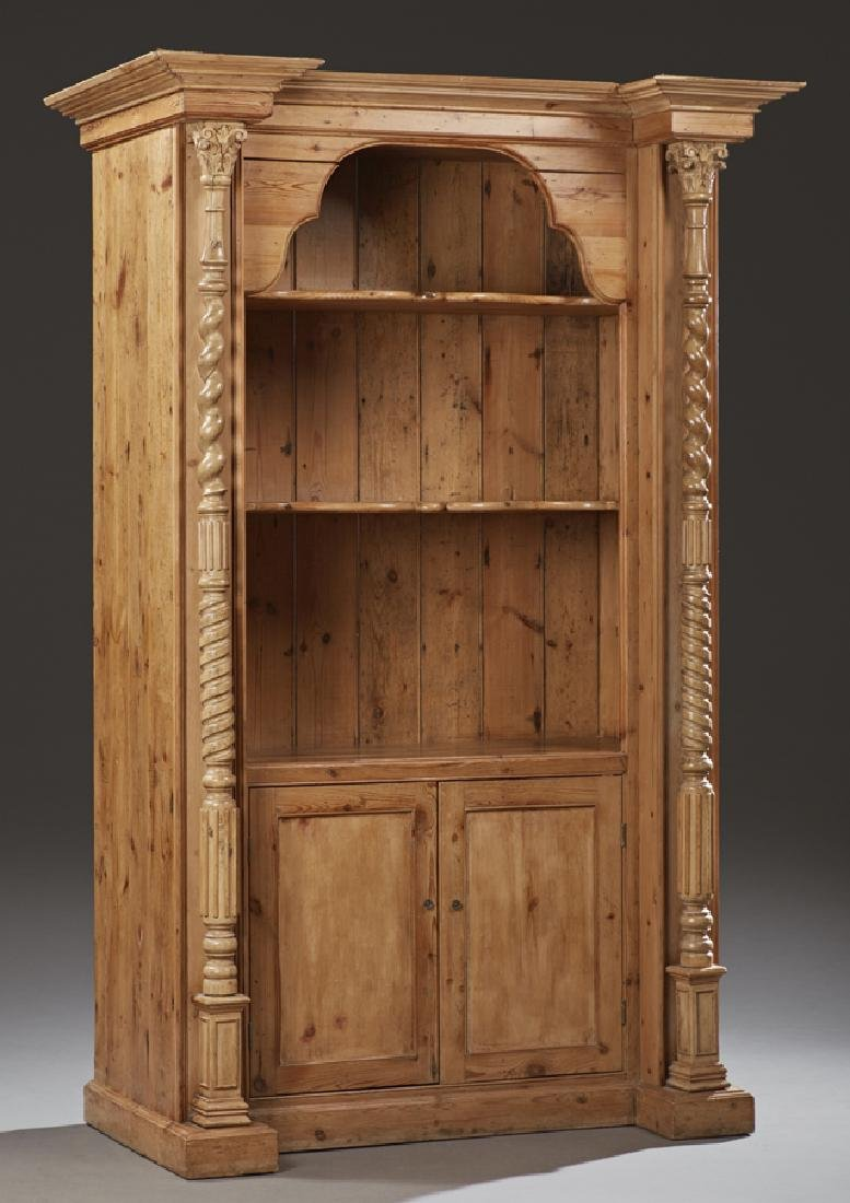 English Carved Stripped Pine Open Bookcase, late 19th