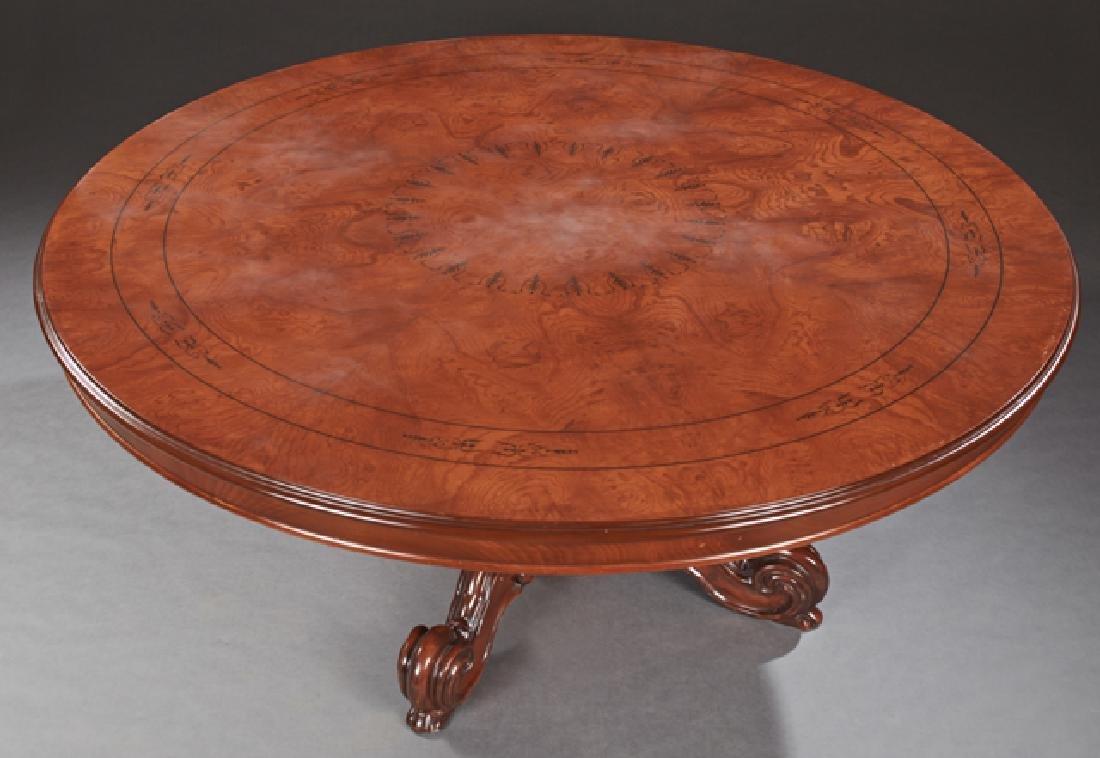 English Style Inlaid Walnut Circular Dining Table, 20th - 2