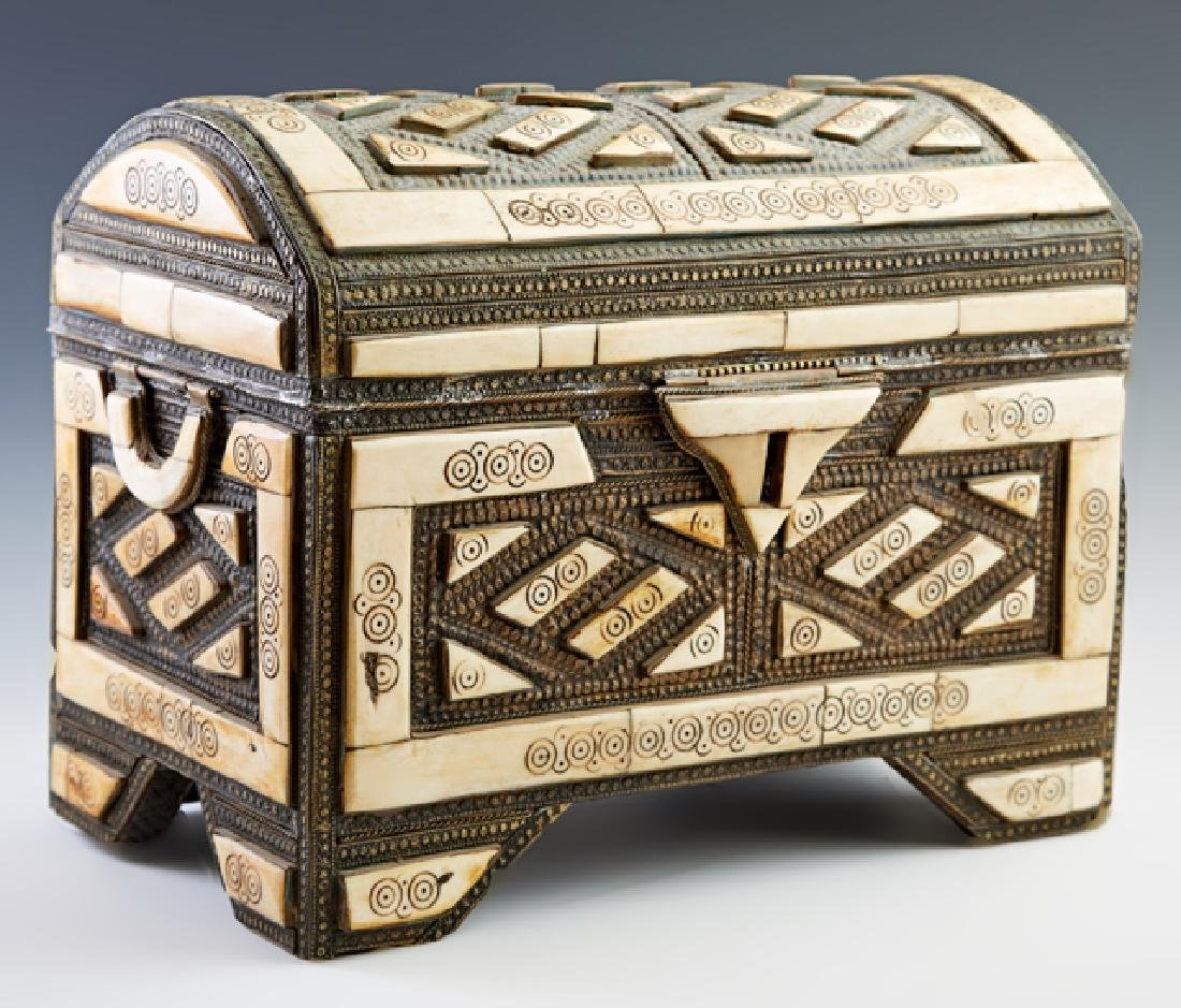 Moroccan Camel Bone and Pressed Tin Document Box, 20th