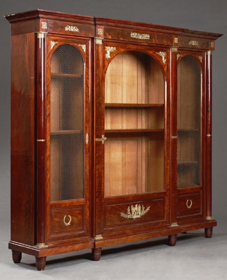 French Empire Ormolu Mounted Carved Mahogany Bookcase,