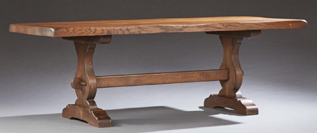 French Provincial Style Carved Oak Farmhouse Table,