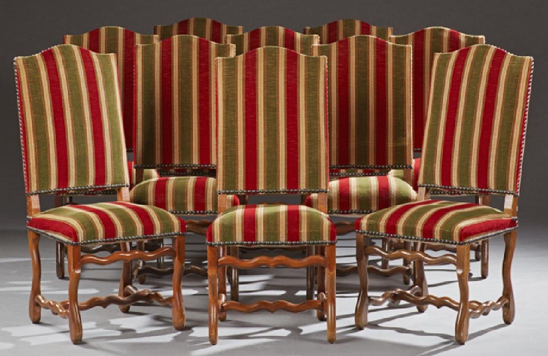 Set of Ten Louis XV Style Dining Chairs, c. 1900, the