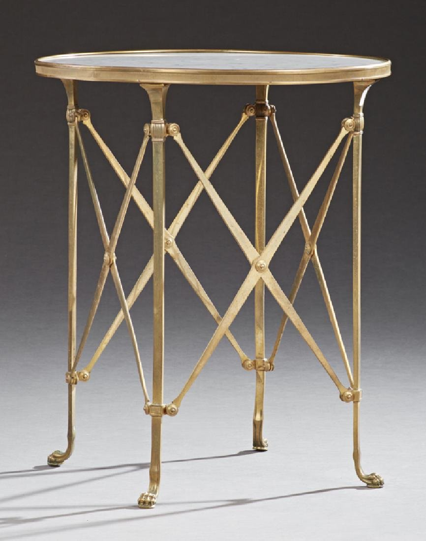 French Louis XV Style Marble Top Circular Brass Side