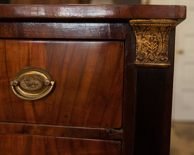 French Empire Style Diminutive Carved Walnut Commode, - 7