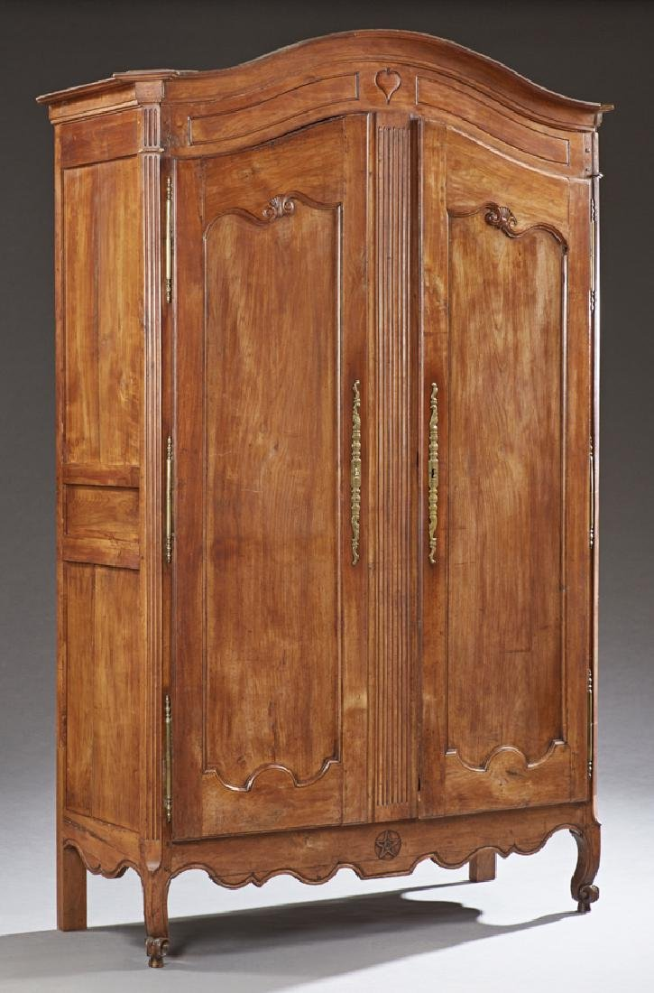 French Louis XV Style Carved Cherry Armoire, 19th c.,