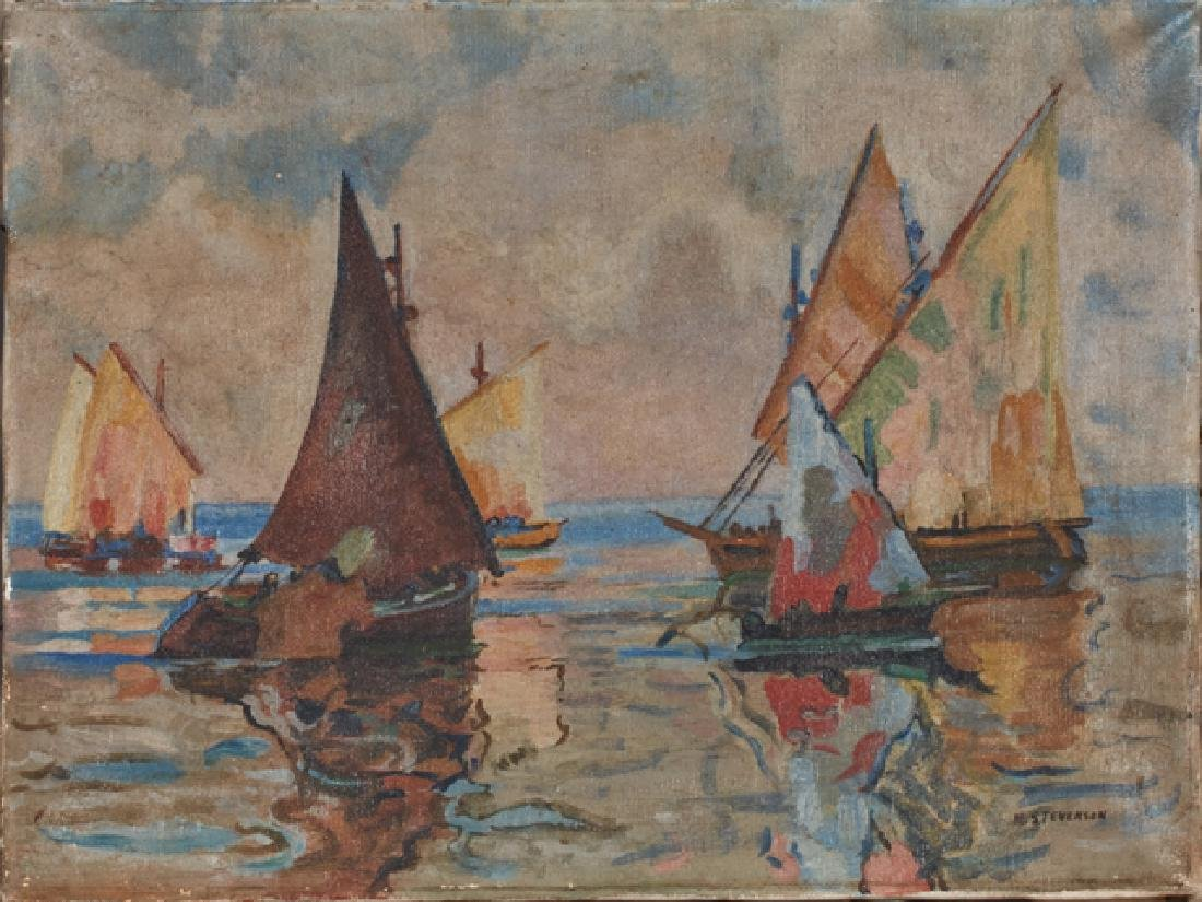 "Mary Anna Stevenson, ""Sailboats on the Water,"" late"