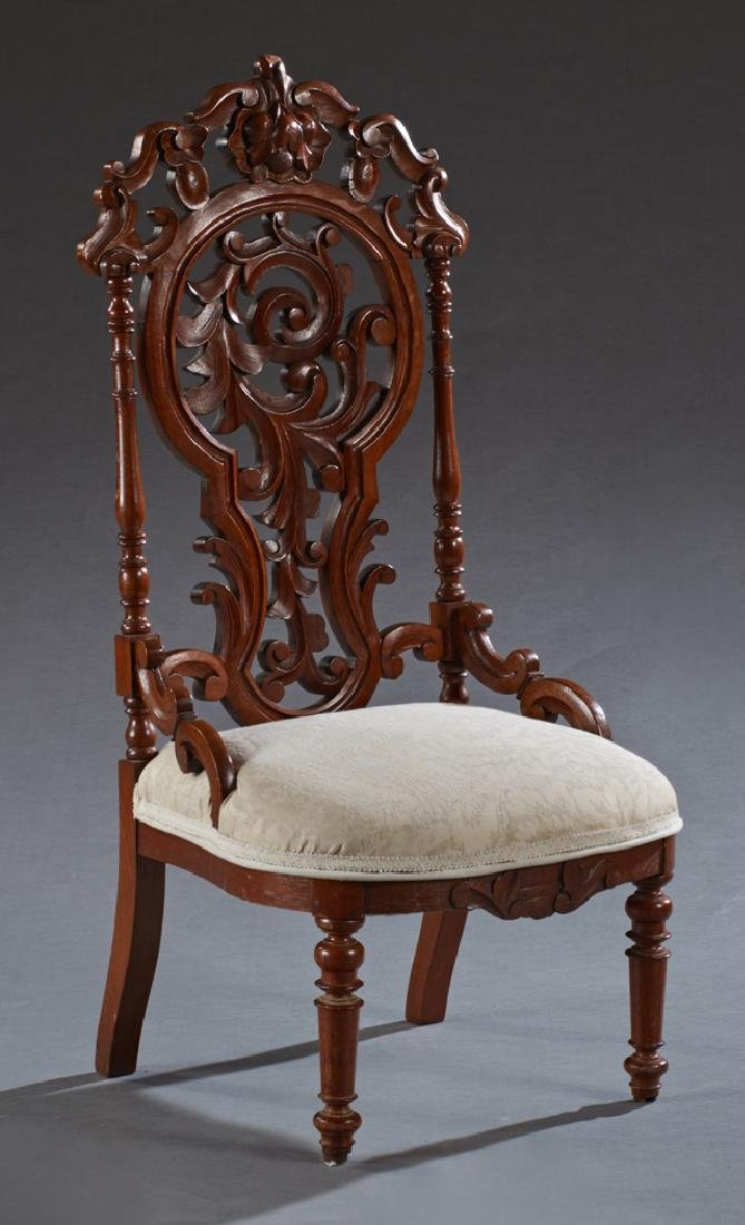 American Rococo Revival Slipper Chair, c. 1875, with a