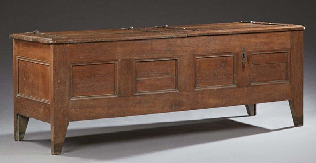 French Provincial Carved Oak Coffer, c. 1830, the