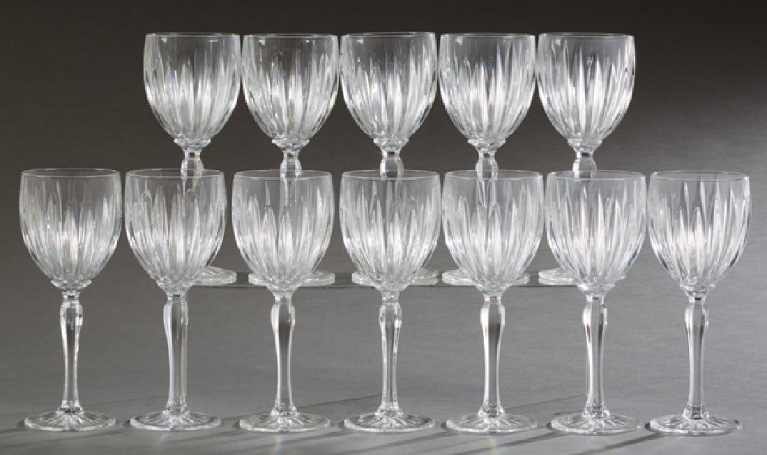 Set of Twelve Heavy French Crystal Stemmed Red Wine