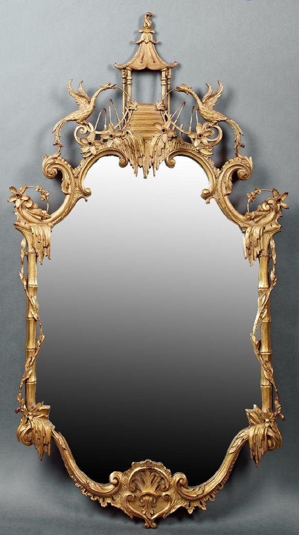 Chinese Chippendale Style Carved Gilt Wood Mirror, 20th