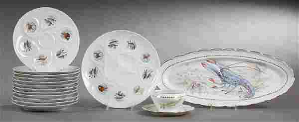 French Thirteen Piece Limoges Porcelain Seafood Set,