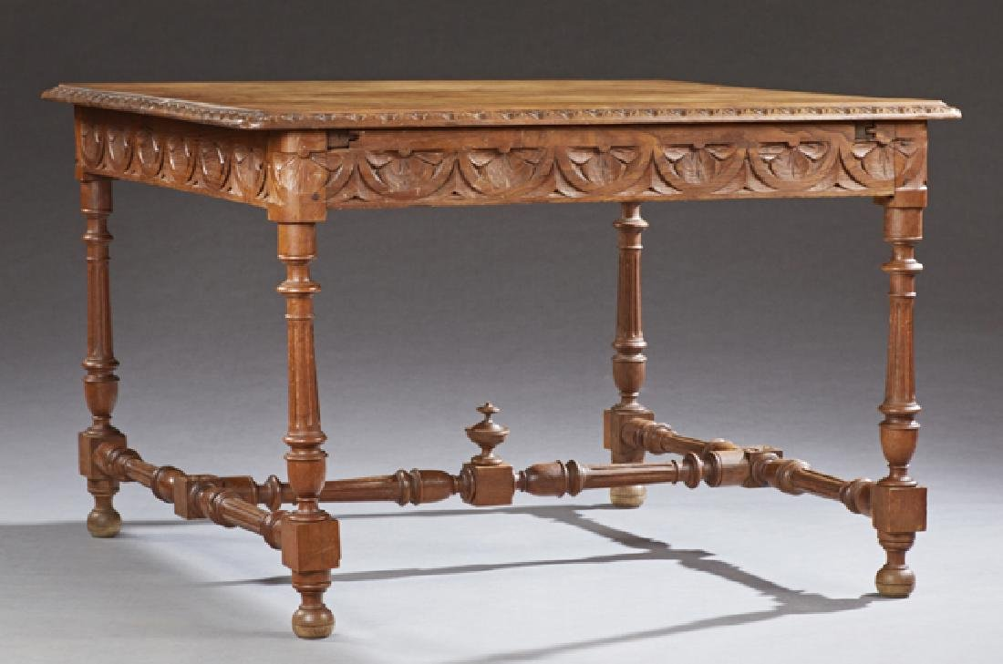 French Provincial Carved Oak Dining Table, c. 1880,