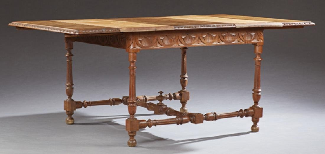 French Provincial Carved Oak Dining Table, c. 1880, - 2