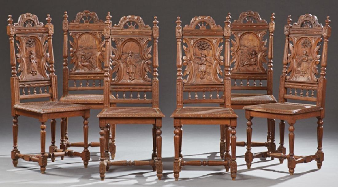 Set of Six French Provincial Henri II Carved Oak Dining