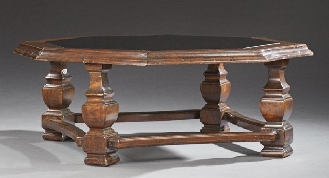 French Provincial Carved Oak Octagonal Coffee Table,