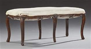 Large French Louis XV Style Carved Walnut Bench, early