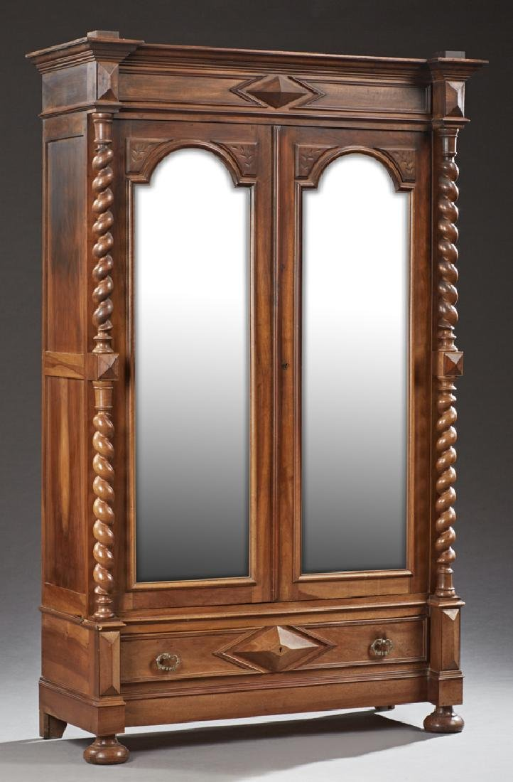French Henri II Style Carved Walnut Armoire, early 20th