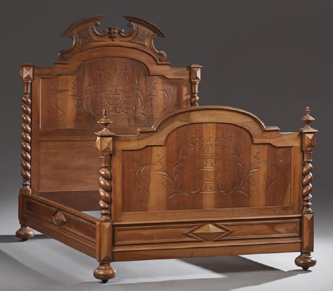 French Henri II Style Carved Walnut Bed, early 20th c.,