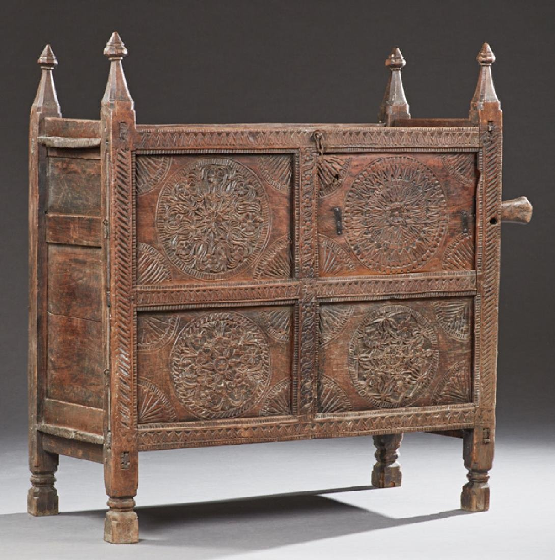 French Provincial Carved Oak Cupboard, c. 1880,