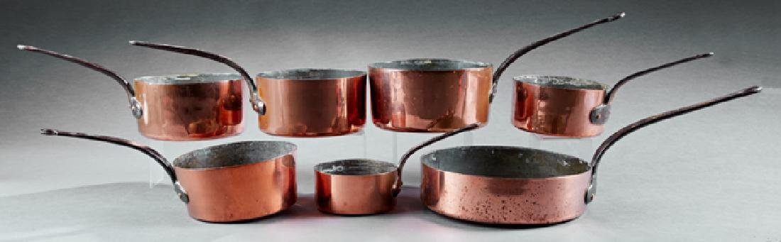 Group of Seven French Graduated Sauce Pans, late 19th