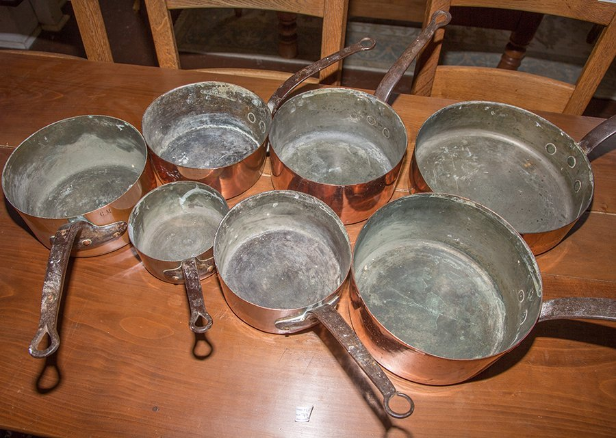 Group of Seven French Graduated Sauce Pans, late 19th - 2