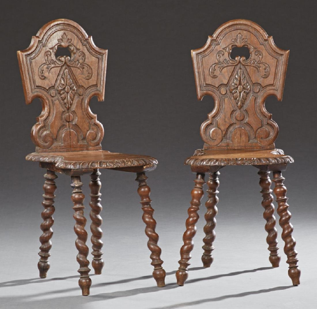 Pair of Henri II Style Carved Oak Hall Chairs, c. 1880