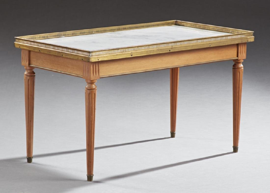 Louis XVI Style Marble Top Carved Cherry Coffee Table,