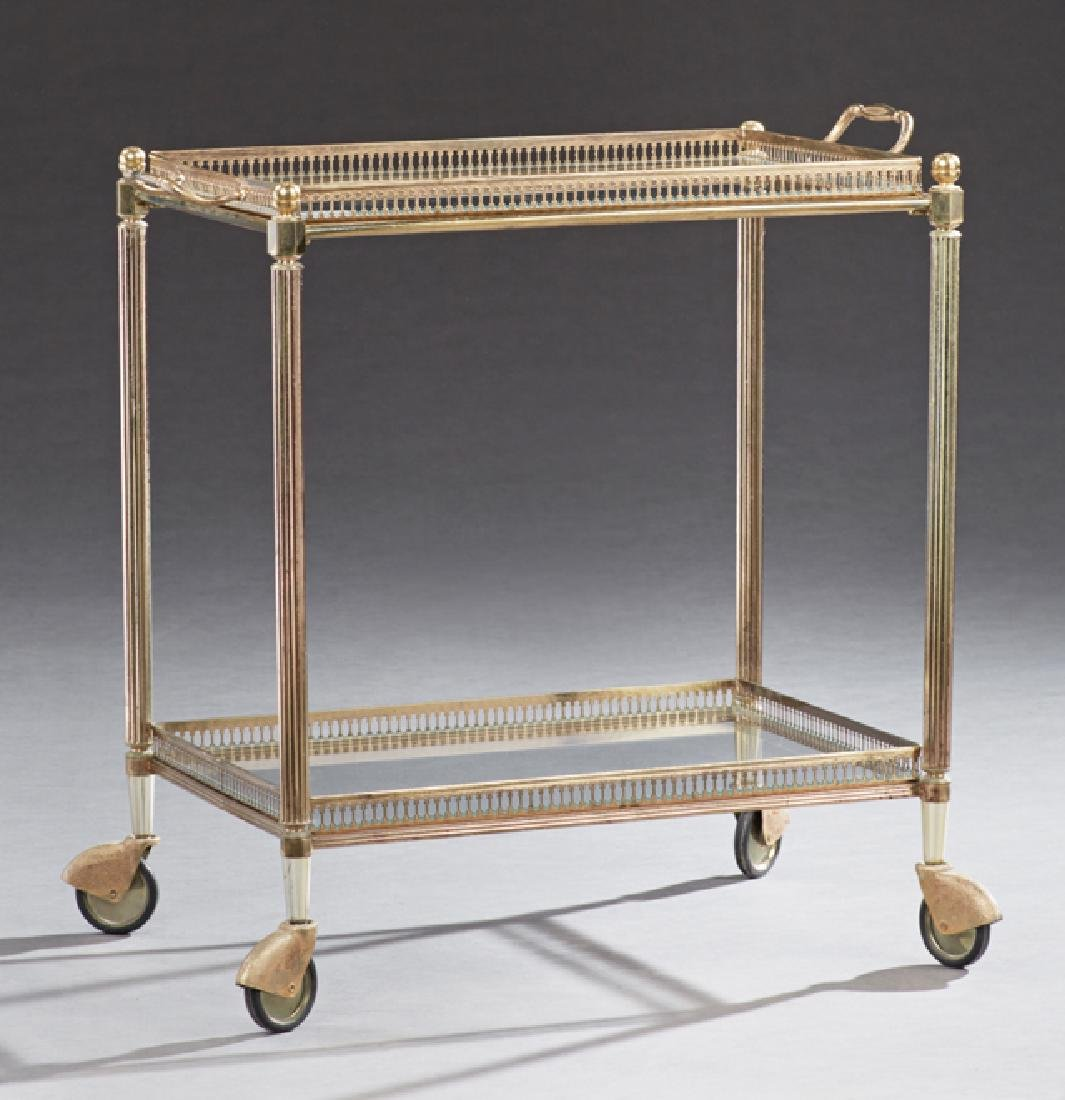 French Two Tier Brass and Glass Serving Cart, c. 1940,