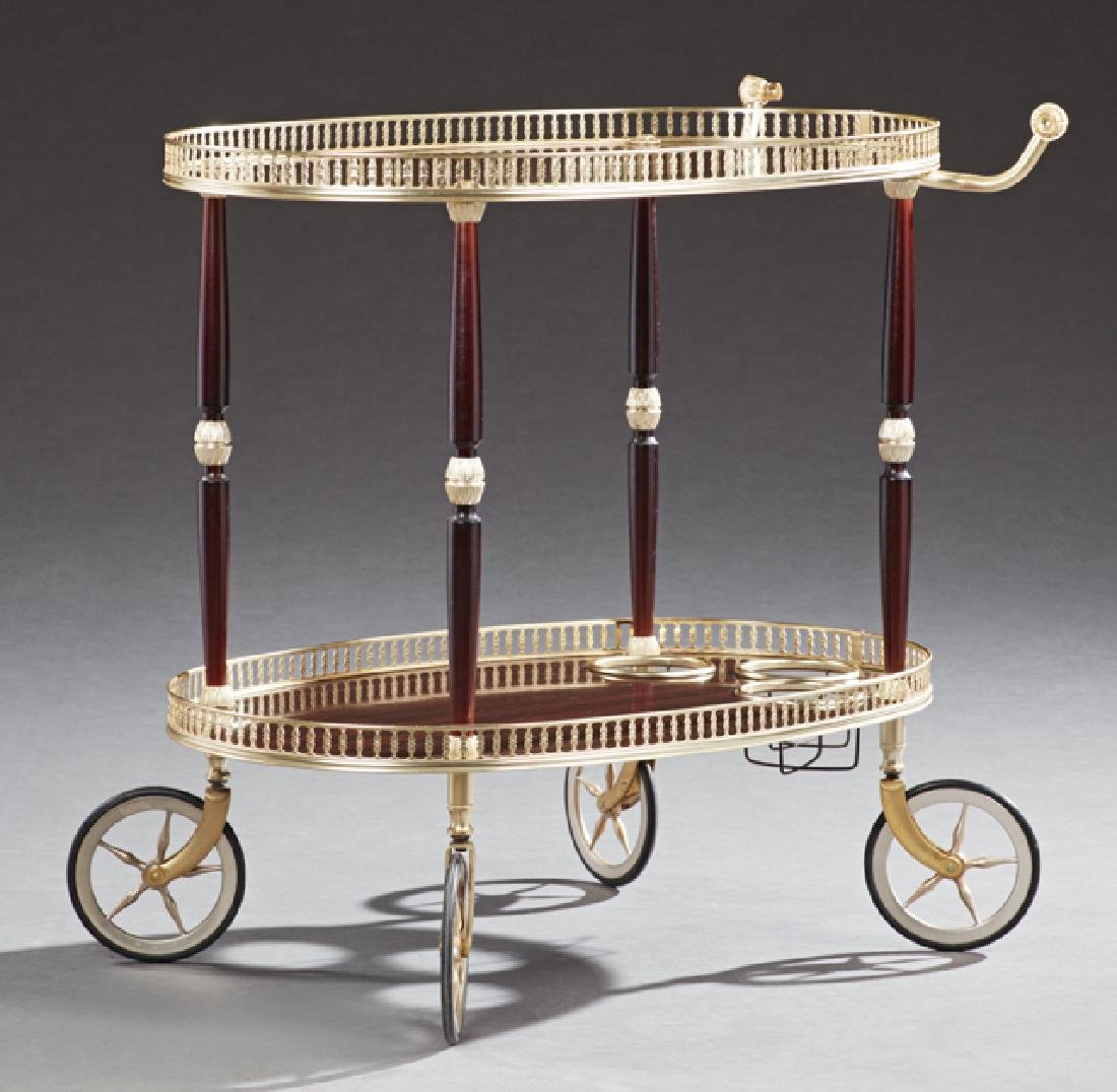 French Brass Two Tier Dessert Cart, 20th c., the brass