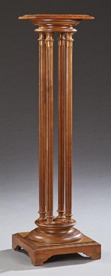 French Carved Walnut Pedestal, 20th c., the stepped