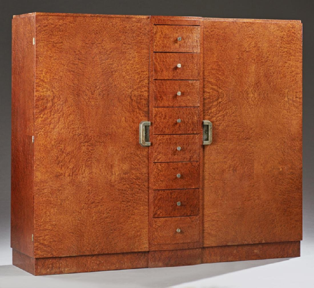 French Art Deco Burled Walnut Armoire, 20th c., the