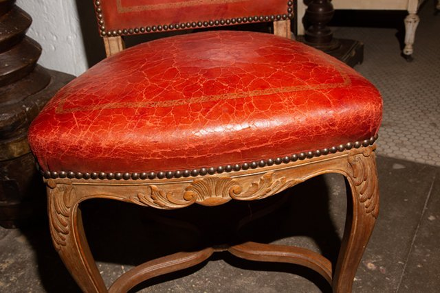 Set of Four French Carved Walnut Highback Louis XVI - 10