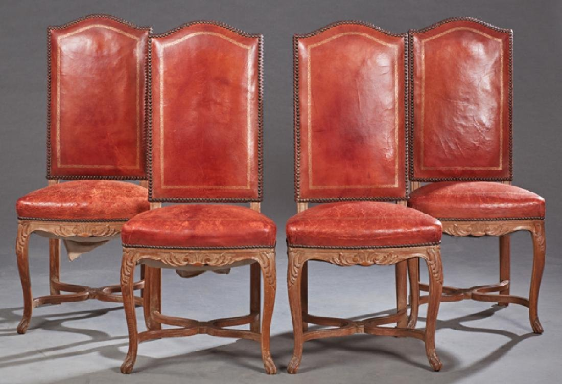 Set of Four French Carved Walnut Highback Louis XVI