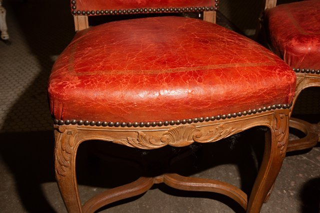 Set of Four French Carved Walnut Highback Louis XVI - 9