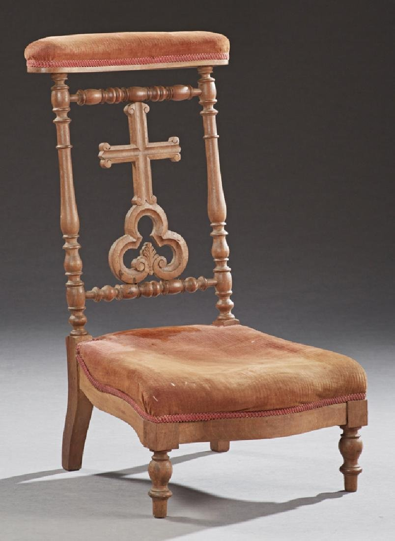 French Walnut Prie Dieu, c. 1880, the upholstered arm