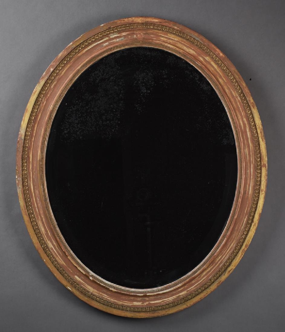Gilt and Polychromed Wood Overmantle Mirror, 20th c.,