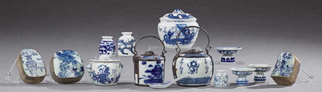 Group of Fourteen Pieces of Chinese Blue and White