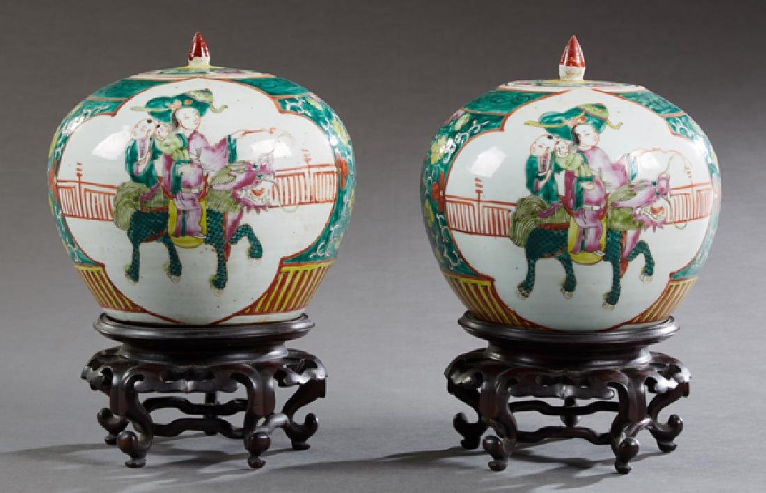 Pair of Chinese Baluster Porcelain Ginger Jars, 20th