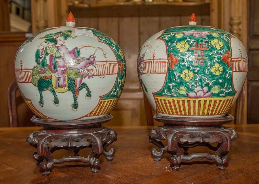 Pair of Chinese Baluster Porcelain Ginger Jars, 20th - 6
