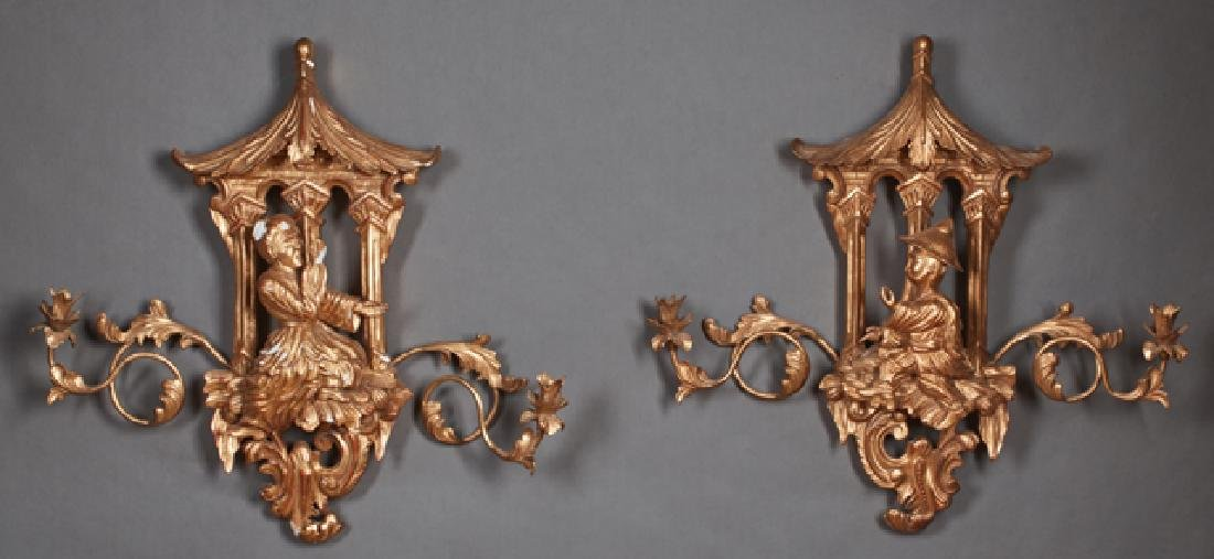Pair of Chinese Chippendale Style Figural Giltwood Two