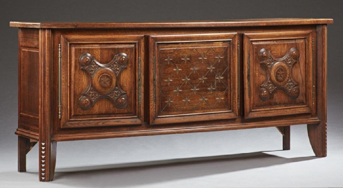 French Provincial Carved Oak Sideboard, 20th c., the